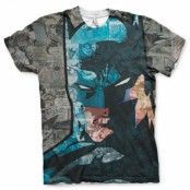 Batman Face-Up Allover T-Shirt, Modern Fit Polyester Tee