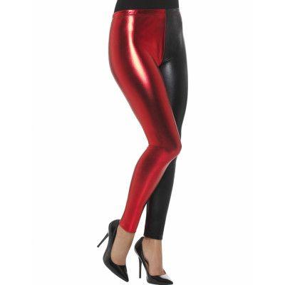 Svarta och Röda Harley Quinn Inspirerade Leggings